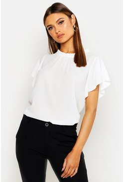 Womens White Woven Frill Sleeve & Neck Blouse