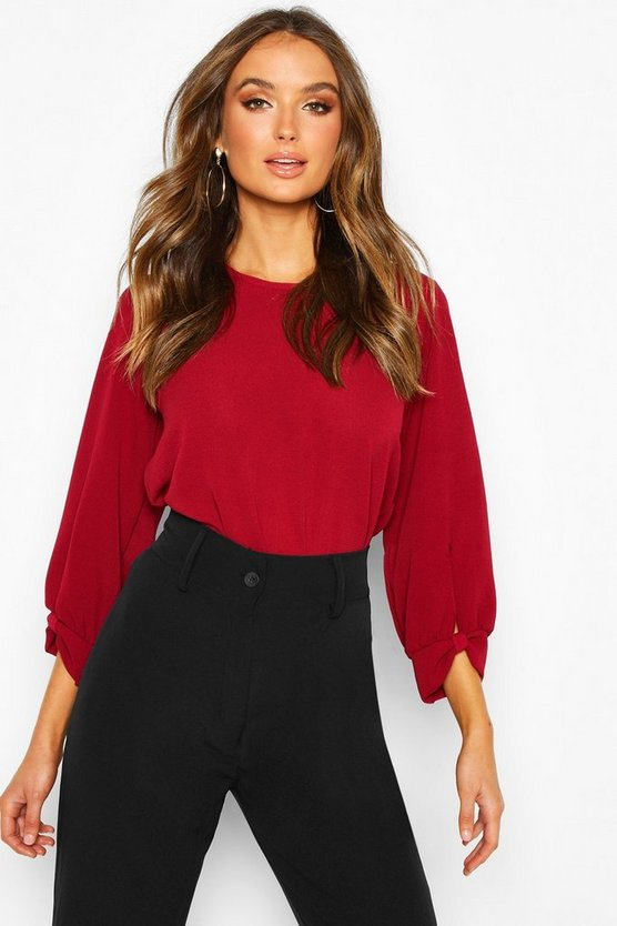 Berry Bow Sleeve Woven Blouse