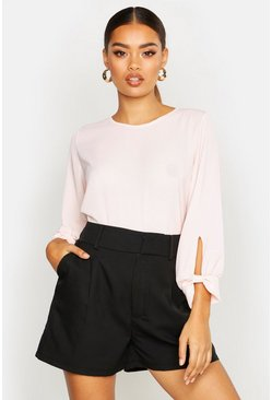 Womens Blush Bow Sleeve Woven Blouse