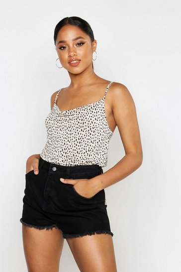 Womens Stone Smudge Spot Cowl Neck Cami