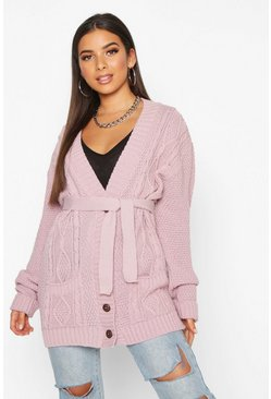 Womens Blush Belted Cable Boyfriend Cardigan