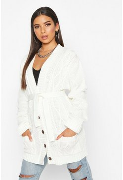 Womens Ivory Belted Cable Boyfriend Cardigan