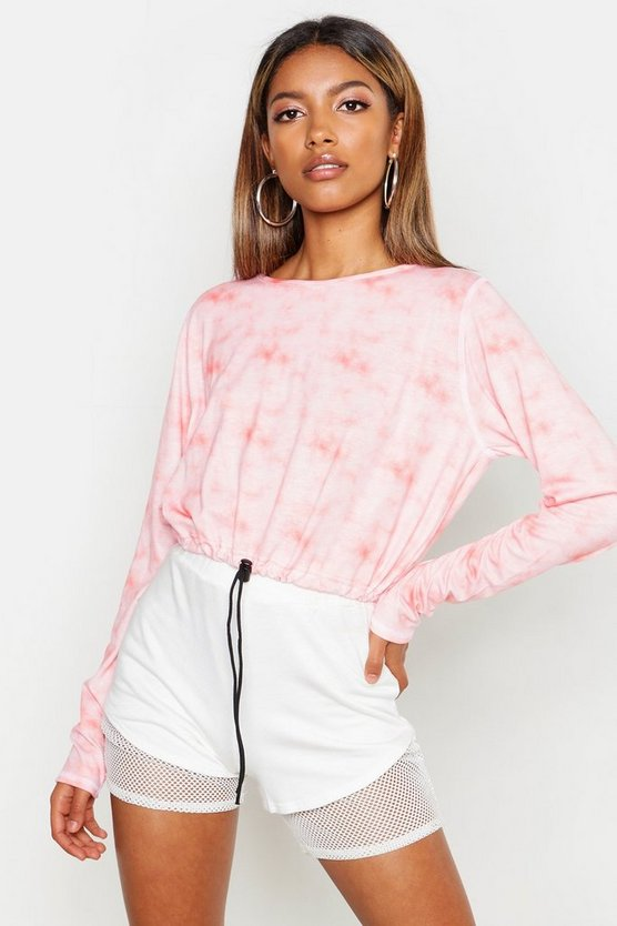 Womens Pink Drawcord Hem Tie Dye Crop Top