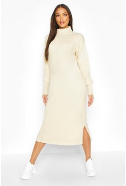 Womens Cream Premium Knitted Roll Neck Midi Dress