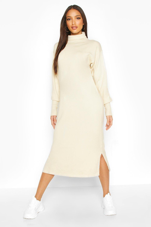Premium Knitted Roll Neck Midi Dress