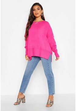 Womens Hot pink Oversized Balloon Sleeve Slash Neck Knitted Jumper