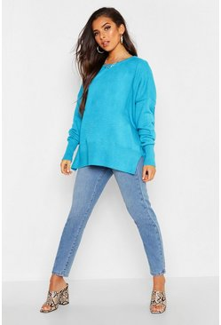 Womens Peacock blue Oversized Balloon Sleeve Slash Neck Knitted Jumper