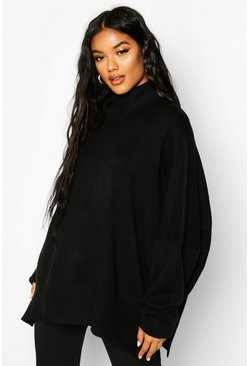 Womens Black Oversized Balloon Sleeve Turtle Neck Knitted Jumper