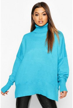 Blue Oversized Balloon Sleeve Turtle Neck Knitted Jumper