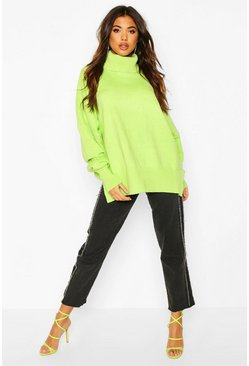 Lime Oversized Balloon Sleeve Turtle Neck Knitted Jumper