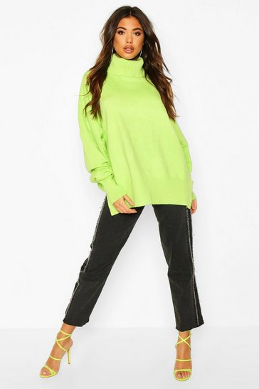 Womens Lime Oversized Balloon Sleeve Turtle Neck Knitted Jumper