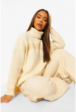Womens Cream Premium Heavy Knitted Stripe Set