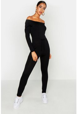 Womens Black Bardot Knitted Lounge Jumpsuit