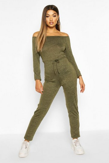 Womens Olive Bardot Knitted Lounge Jumpsuit