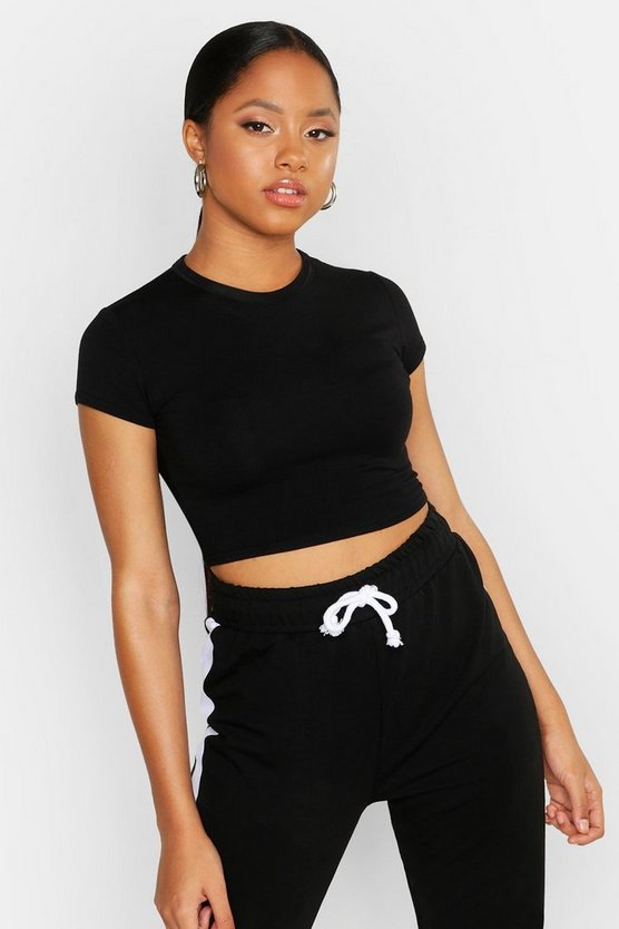Womens Black Cropped Capped Sleeve T-Shirt