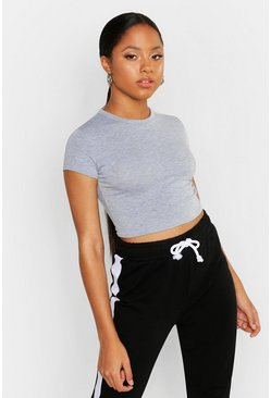 Grey marl Cropped Capped Sleeve T-Shirt