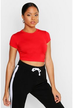 Womens Red Cropped Capped Sleeve T-Shirt