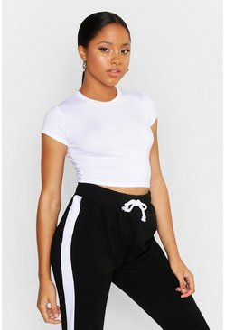 White Cropped Capped Sleeve T-Shirt