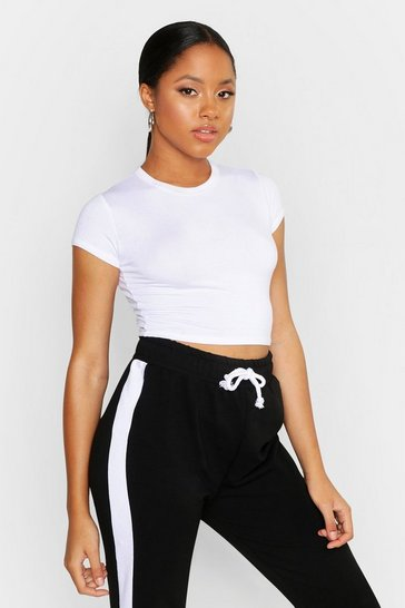 Womens White Cropped Capped Sleeve T-Shirt