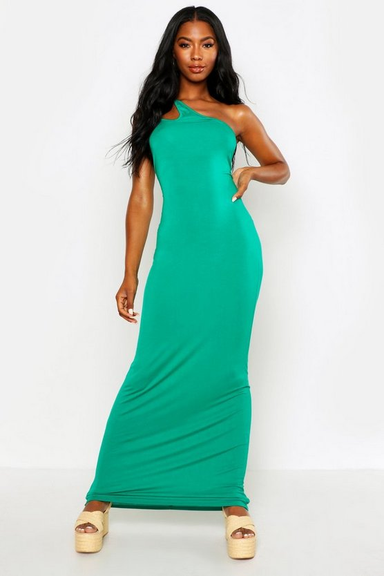 Womens Green One Shoulder Strappy Cami Maxi Dress