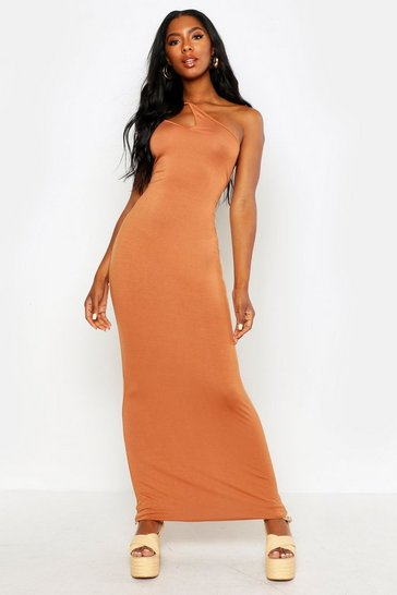 Womens Tan One Shoulder Strappy Cami Maxi Dress