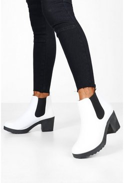 Womens White Wide Fit Chunky Chelsea Boots