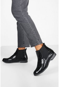 Bottines Chelsea larges Wide Fit croco, Noir