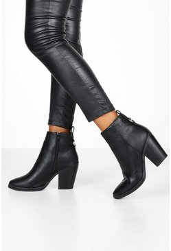 Black Wide Fit Western Boots