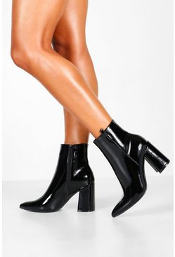 Black Pointed Block Heel Shoe Boots