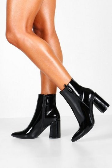 Womens Black Pointed Block Heel Shoe Boots