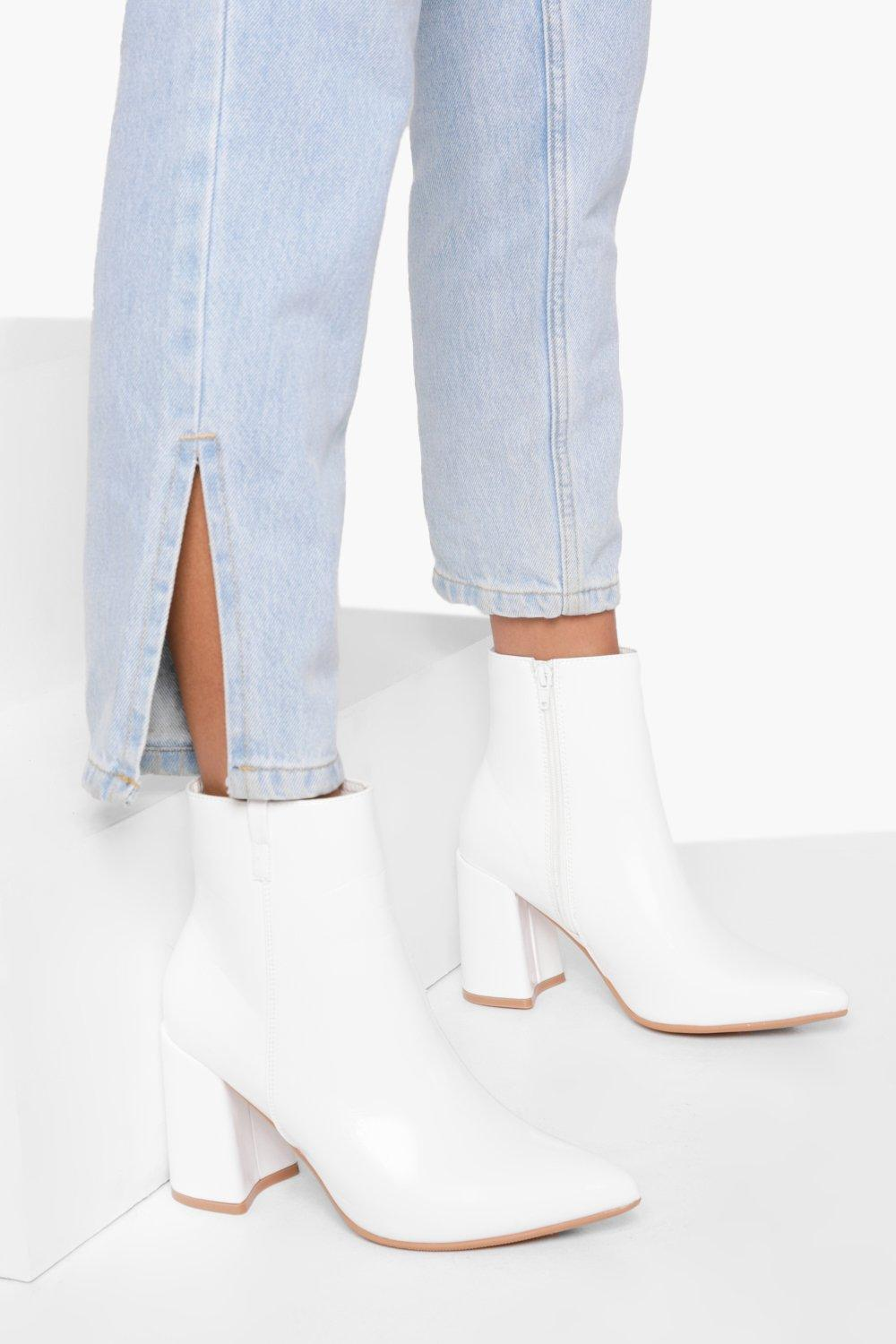70s Shoes, Platforms, Boots, Heels | 1970s Shoes Womens Pointed Block Heel Sock Boots - White - 8 $25.60 AT vintagedancer.com