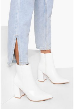 Womens White Pointed Block Heel Shoe Boots
