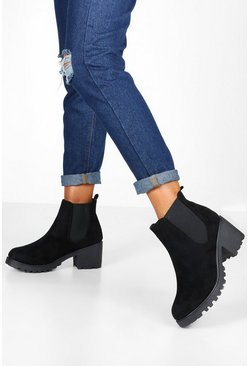 Dam Black Cleated Chunky Chelsea Boots