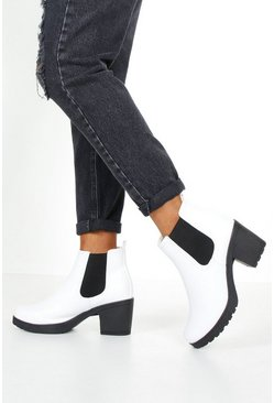Womens White Cleated Chunky Chelsea Boots