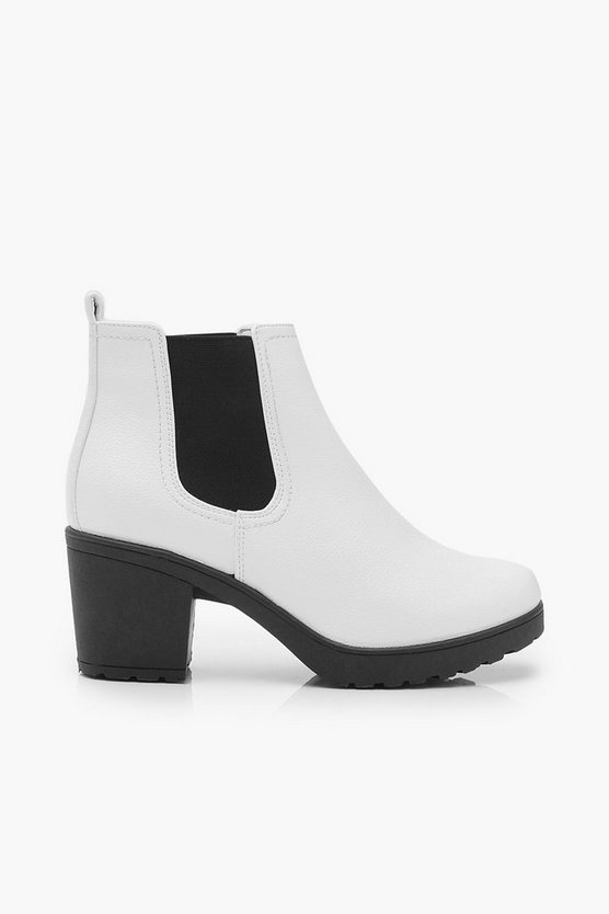 White Cleated Chunky Chelsea Boots