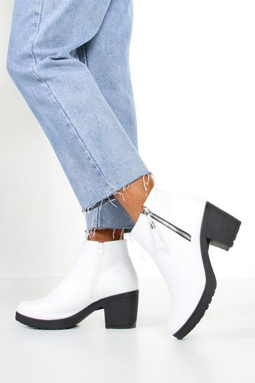 Womens White Zip Pull Chunky Chelsea Boots