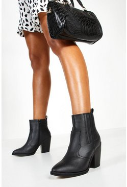Womens Black Ankle Western Boots