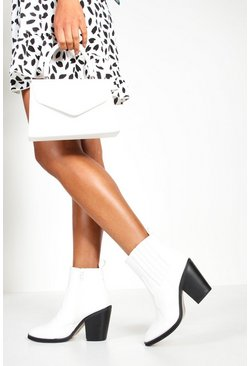 Womens White Ankle Western Boots