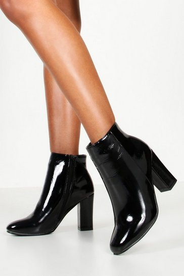 Womens Black Square Toe Block Heel Shoe Boots