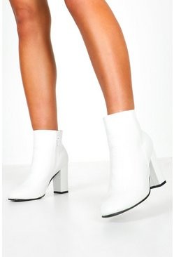 Womens White Croc Patent Block Heel Shoe Boots