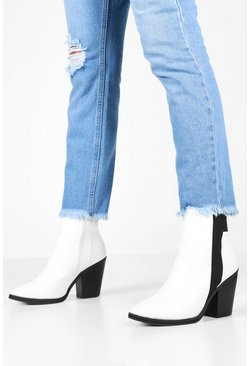 Womens White Elastic Panel Western Boots