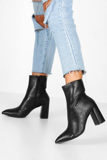 Black Snake Detail Pointed Sock Boots