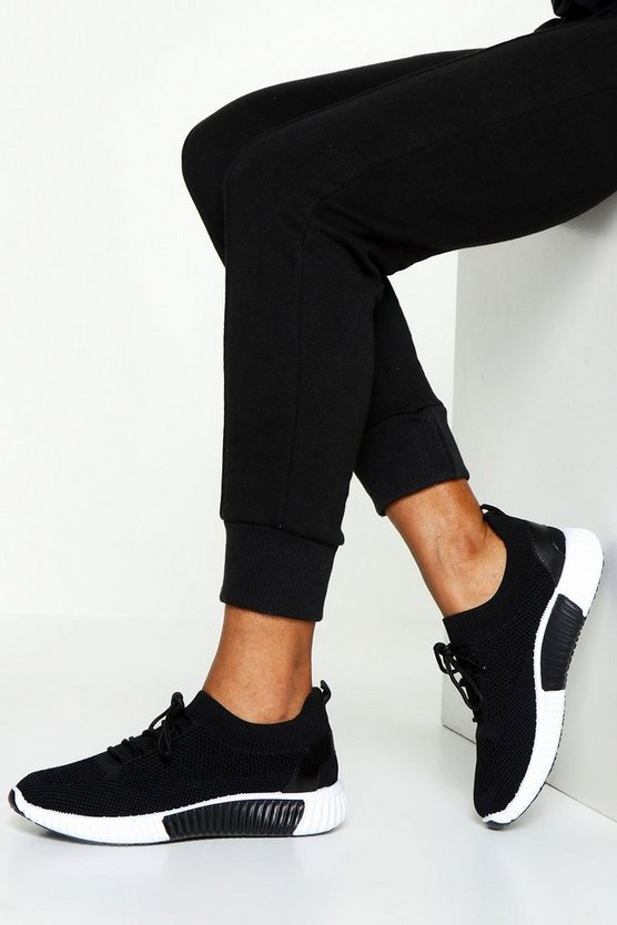 Womens Black Knitted Sports Trainers