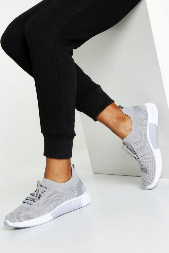 Grey Knitted Sports Sneakers