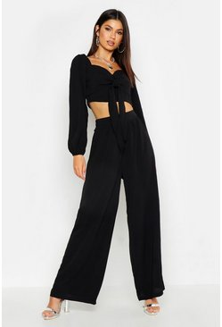 Dam Black Wide Leg Woven Fabric Trousers