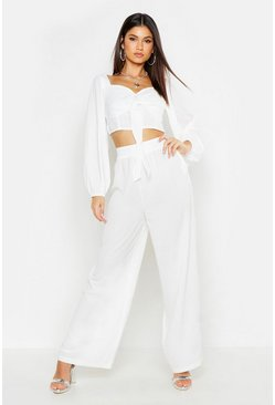 Womens White Wide Leg Woven Fabric Pants