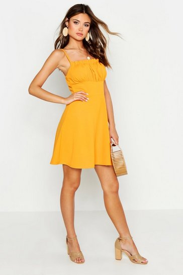 Womens Mustard Strappy Gathered Peasant Front Skater Dress