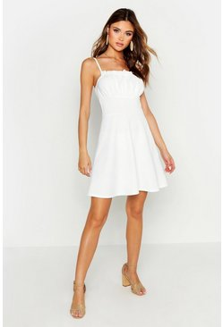 White Strappy Gathered Peasant Front Skater Dress