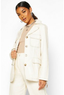 Womens Ecru Contrast Stitch Denim Utility Jacket