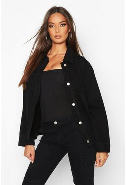 Womens Black Pocket Denim Jacket